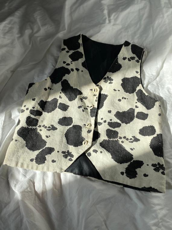 Vintage Cow Print Vest (lined)