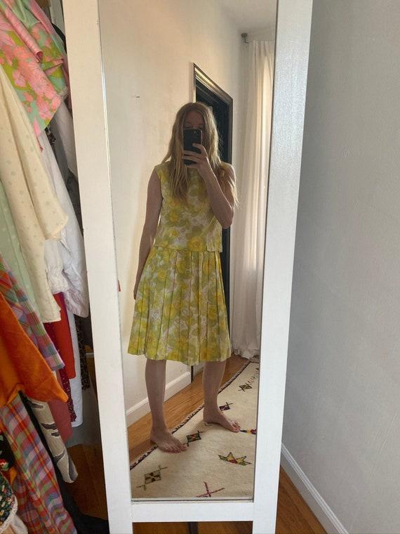 Psychedelic Floral Print Shell + Skirt Set ~ Circa