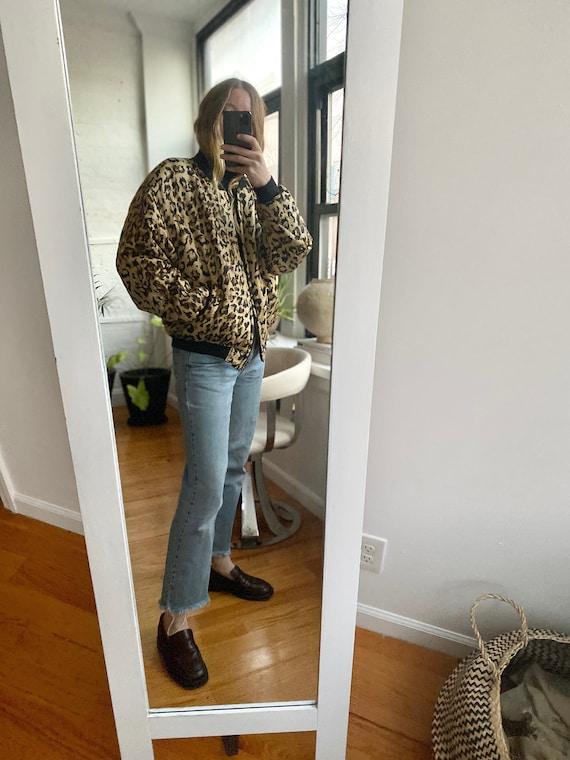 1980s Leopard-Print Silk Bomber Jacket