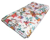 Bird Print Queen Size Kantha Quilt White, Kantha Blanket, Bed Cover, Queen Kantha bedspread, Bohemian Bedding Kantha Size 90 X 108 Inches