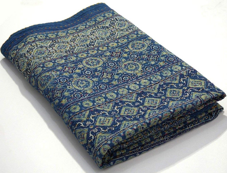 Hand Block Print Ajrakh Kantha Handmade Sari Kantha Quilt Blanket Indian Cotton Kantha Bedspread Hand Stitch Kantha Bed Cover