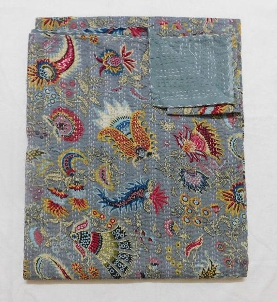 Handmade Vintage Grey Fruit Kantha Quilt Throw Cotton Blanket Bedspread Gudari