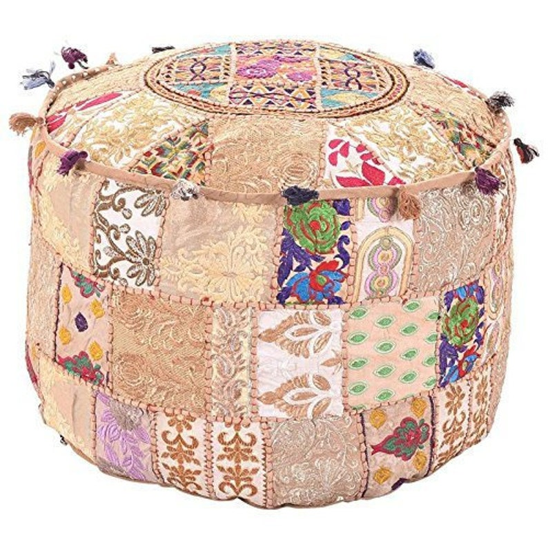 Furniture Home & Garden Cotton Patchwork Cover Ottoman Vintage Foot Stool Handmade Pouf Patchwork