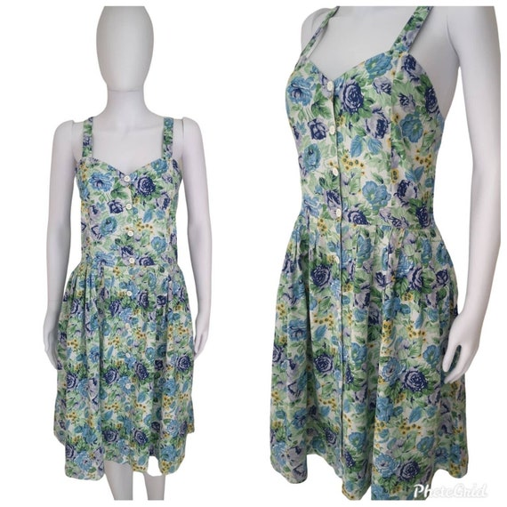 Vintage 1970s does 1940s cotton sundress medium