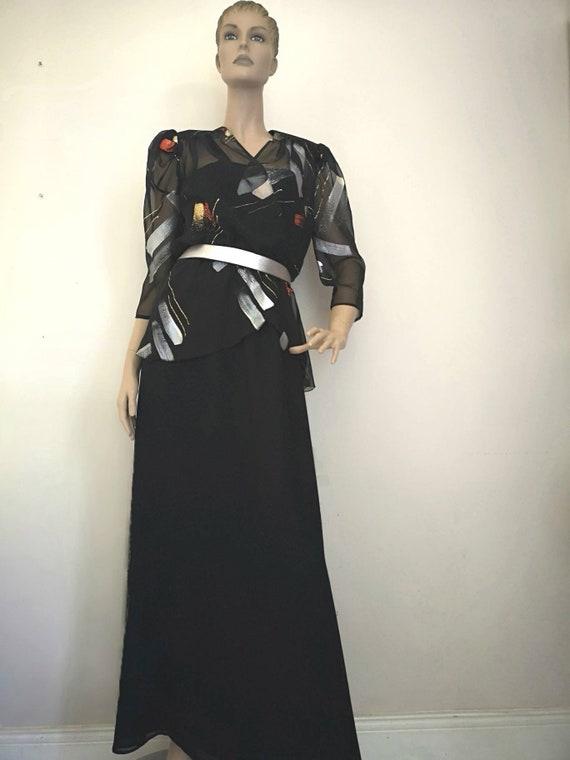 Vintage 1970s dress, black maxi dress, chiffon dre