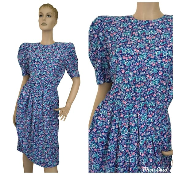 Vintage 1980s puff sleeve floral print dress small