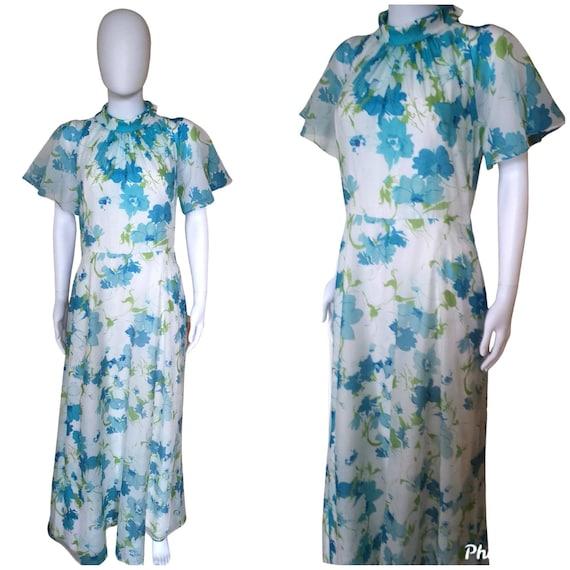 Vintage 1960s maxi dress medium, 1960s boho maxi m