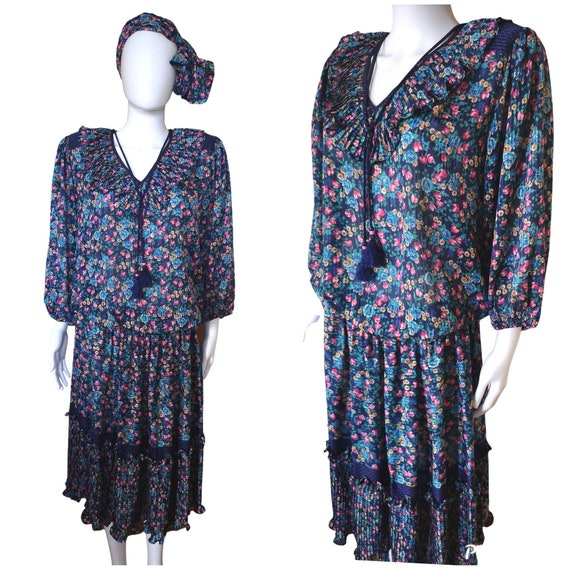Vintage Diane Freis dress medium, vintage boho dre