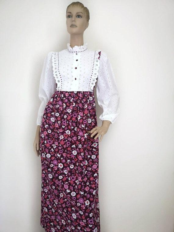 Vintage prairie dress small, 1970s prairie dress,