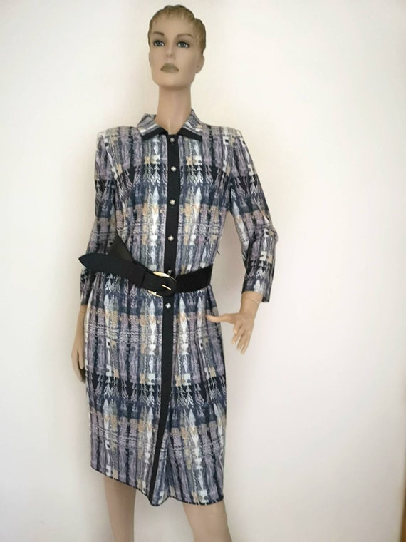 Vintage 1970s dress, day dress large, wool blend d