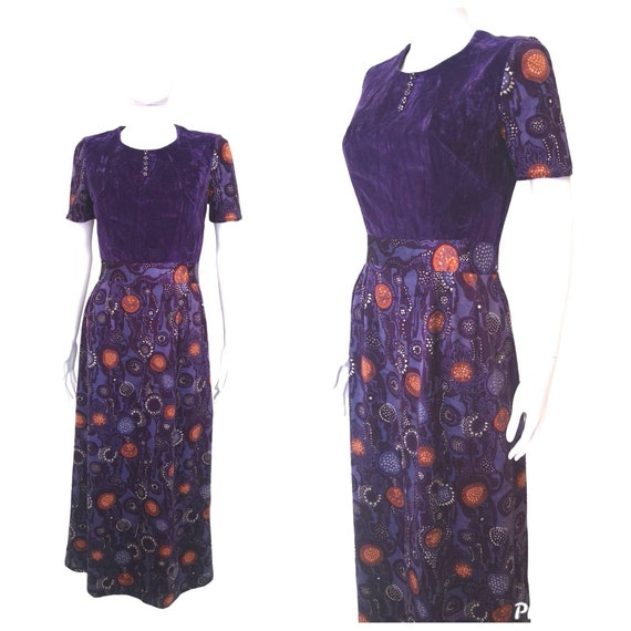Vintage 1970s velvet maxi dress extra small xs
