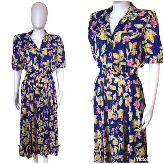 Vintage 1980s Kanga by Dale Tryon dress, 80s print