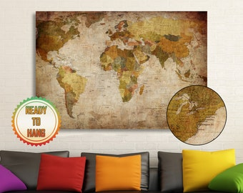 Framed world map etsy colorful ancient world map vintage map ancient map home art stretched canvas art framed ready to hang interior design gumiabroncs Gallery