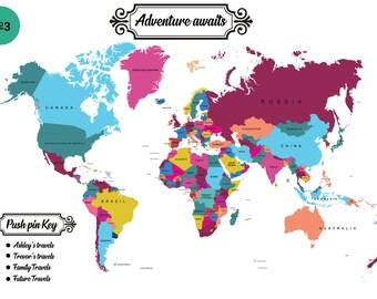 push pin travel map usa etsy