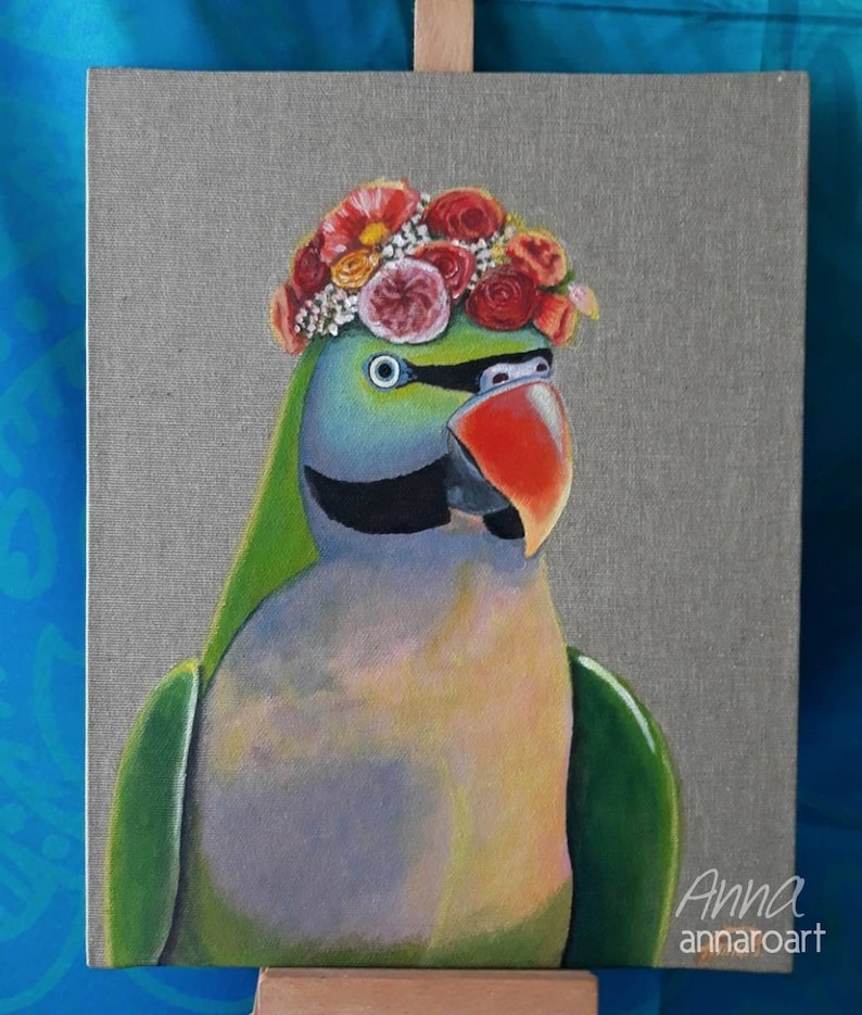 Mustache Parakeet with Flower Crown original acrylic painting
