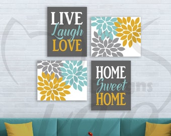 Teal And Yellow Decor Etsy