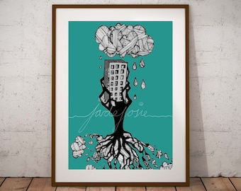 Forest of Buildings - hand drawn artwork