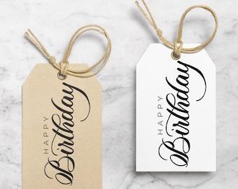 Happy Birthday / Birthday Gift Tag / Gift Tags / Favor Tags / Hang Tag / Handmade Gift Tags / Birthday Tags / Kraft Gift Tag / Calligraphy
