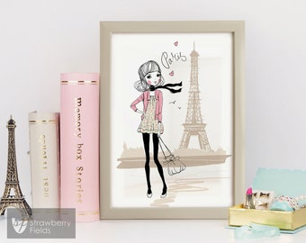 "Poster in Plastic Frame ""Paris"" , Kids decor, Wall Decor, Nursery Decor, Cute Picture, Wall Art"