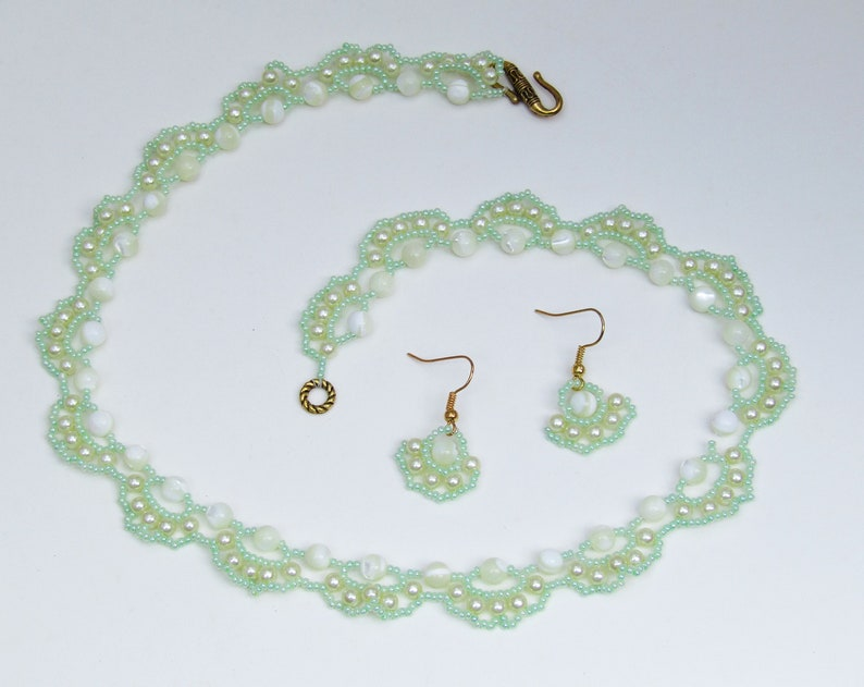 Mother of Pearl Necklace and Earrings Set with Glass Pearl and Seed Bead Swag