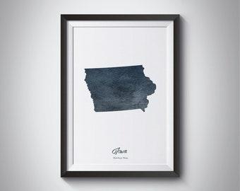 Iowa State Map, Instant Download, Digital Print, Iowa Art Map