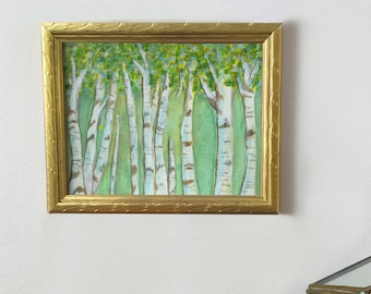 Birch Grove - Acrylic and Pastel Handpainted Mural Concept - Print