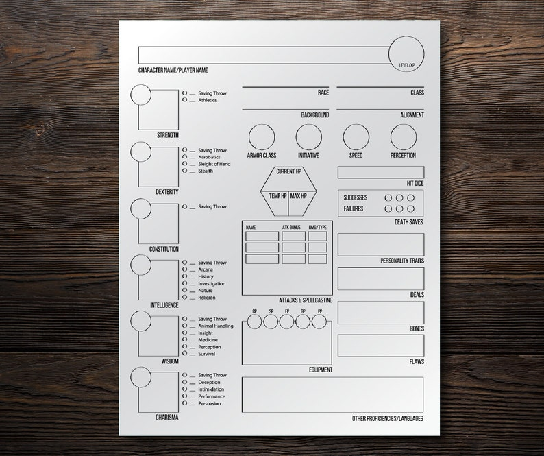 photograph relating to Dnd 5e Printable Character Sheet titled DND 5e Persona Sheet DD Dungeons and Dragons Electronic Persona Sheet  Fillable and Printable