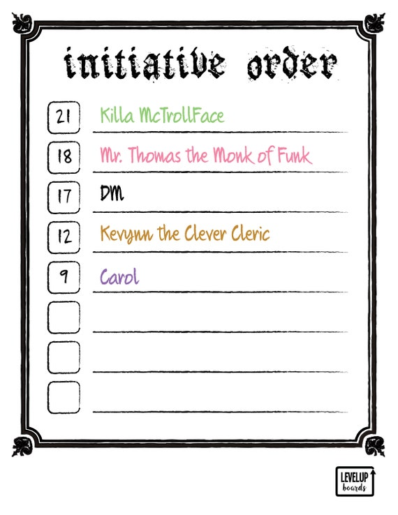 photograph relating to Printable Initiative Tracker named DD Initiative Tracker (Rustic) DM Battle Purchase Printable Dry Erase Board White Board