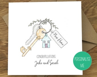 New Home Card/Congratulations/House Keys/Personalised Home Card