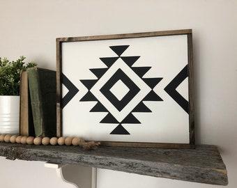 Aztec boho pattern wood sign, tribal wall art, black and white print, boho home decor, modern farmhouse, boho home decor, rustic wooden sign