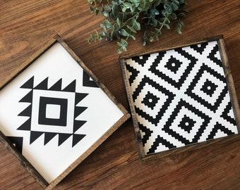 Aztec wall art, aztec print decor, boho decor, southwestern, black and white geometric sign, modern farmhouse, wood signs, rustic wall art,