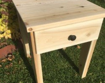 Cedar End Table W/Drawer