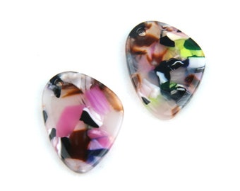 Rare 35mm 3 Matched Pair Natural Picture Jesper Large Tear Drops Pair Briolette Beads Strand 3305-07