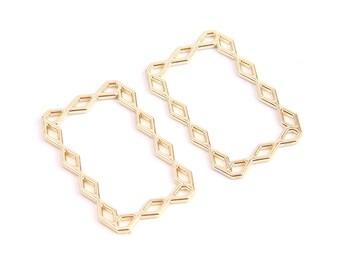 Nickel free Hexagon earring hoop 16K gold plated brass 43x36mm Geometric hoop 2 pcs S88-G5 1mm thick