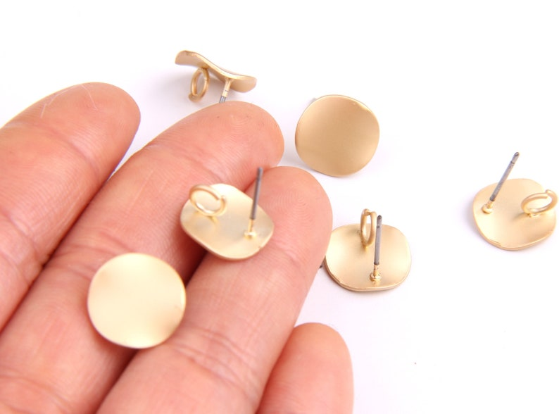 6PCS Matted gold Plated Zn Alloy Earring charm-Earring StudPost-wavy shaped-Connector-Earring findings-Jewelry Supply 12mm ZL1069