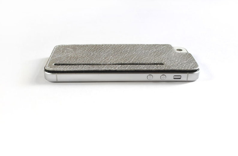 slim purse for the back of your iphone made of silver leather  silver leather case for iphone 5 iphone 5s or iphone SE  Made in Berlin