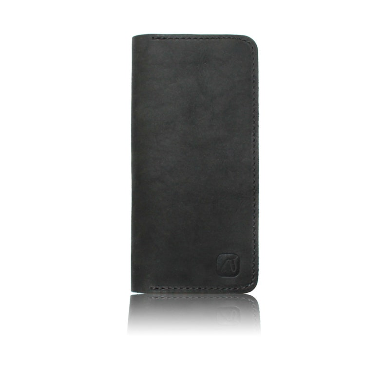 IPhone cover for the iPhone made of black nubucleder with grey or black closureMade in Berlin