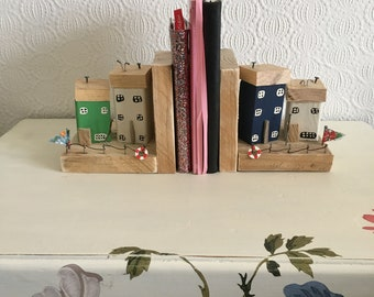 Reclaimed wooden cottage houses bookends handmade quirky gift