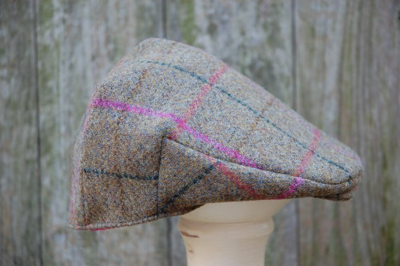 Girls Tweed Flat Cap with Pink Stripe and Bright Pink Cotton  350e9b4b0e5