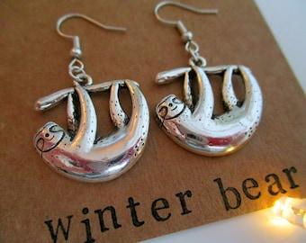 Personalised Sloth Earrings - Cute - Custom - Sterling Silver - Jewellery - Jewelry - Birthday Gift - Christmas - Gift - Friend - Loved One