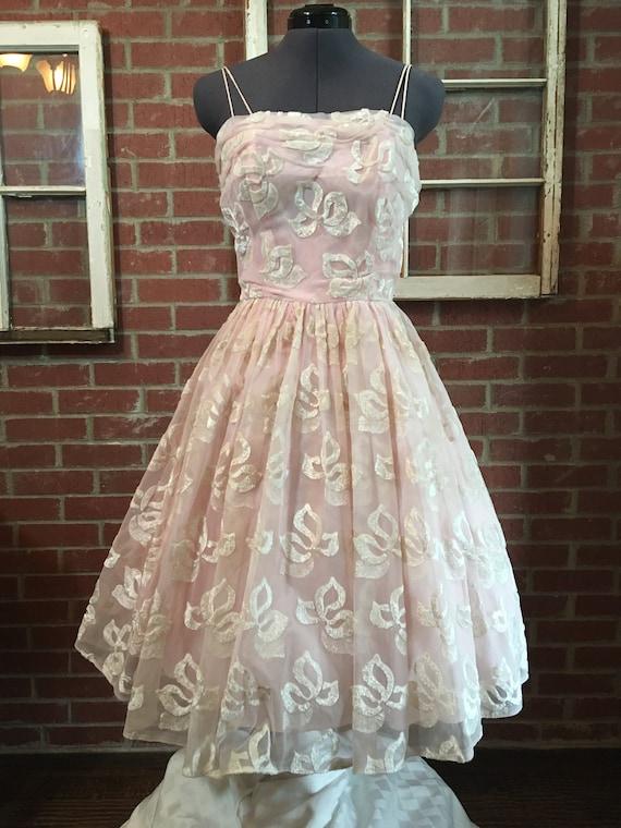 Vintage 1950's Pastel Pink Flocked  Party Dress