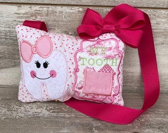 Tooth Fairy Pillow - Personalized\Monogrammed Sweet Tooth w/ Bow Pillow