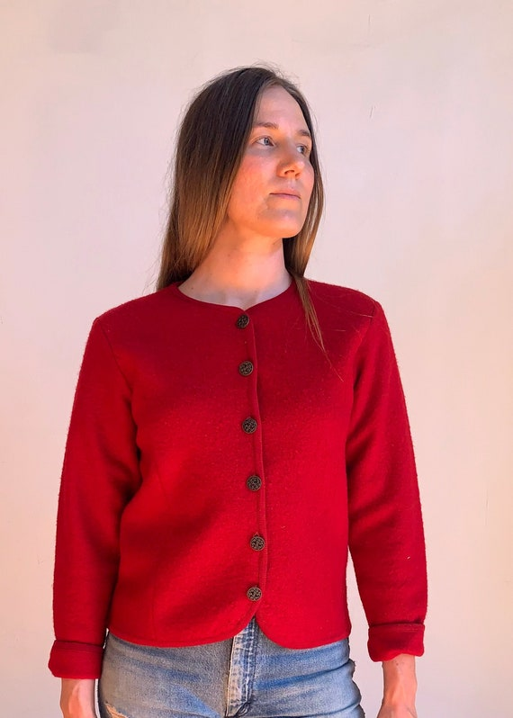 Vintage 1980s 100% Wool Sweater Red Classic Button