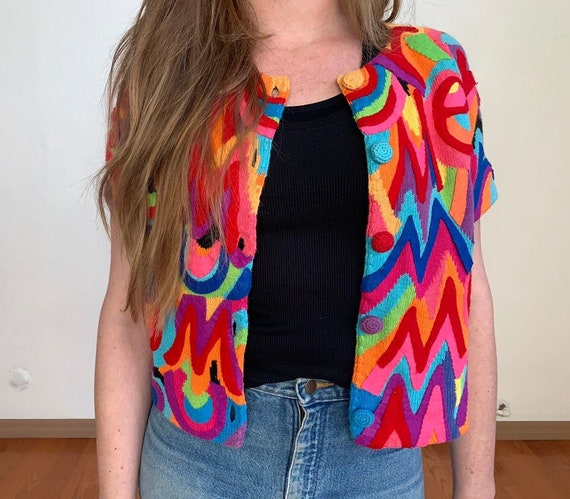 1990's summer Vintage Psychedelic Cardigan from M… - image 1