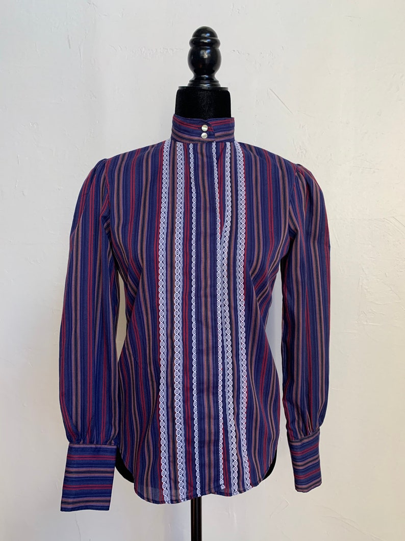 Vintage 1970s Button Down Shirt Blouse Stripe Blue Victorian Collar Size Small Romantic Lace Long Sleeve 1980s Gunne Sax Style