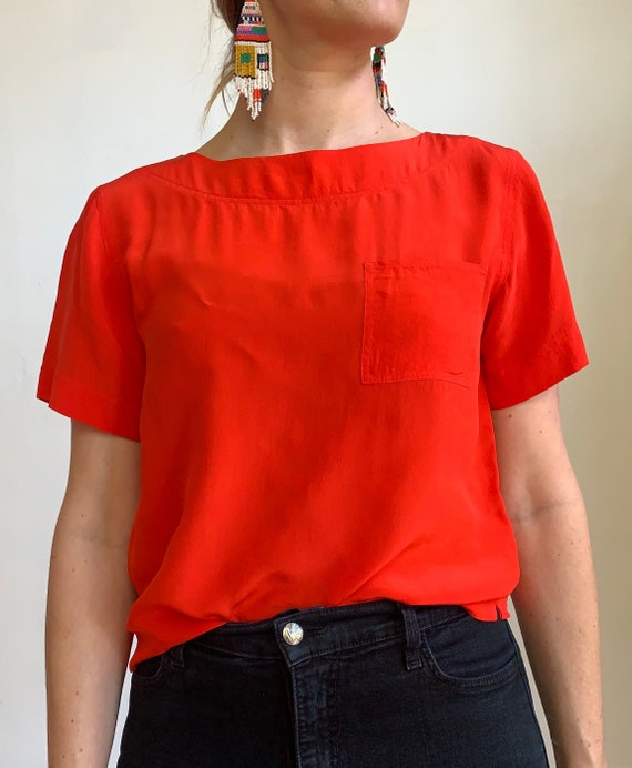 Vintage 1980s Cherry Red 100% Silk Top Blouse Size