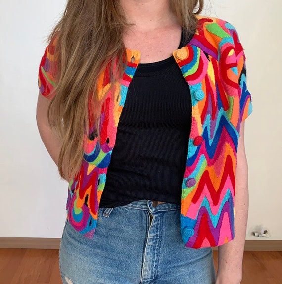 1990's summer Vintage Psychedelic Cardigan from M… - image 3