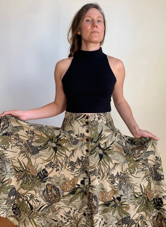 Vintage 1990s Animal Print High Waisted Skirt With
