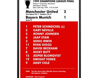 Items similar to MUFC - 1999 Champions League Final Team