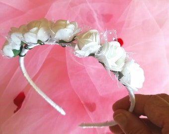 Ceremony crown for hair with white roses dedicated bridesmaid bride
